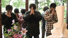 Dirty Japanese teen is drilling her hairy twat with dildo at husband's funeral