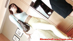 Wonderful brown haired Asian Lady-boy loves hardcore doggystyle anal fuck