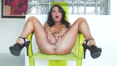 Wonderful Asa Akira sexily undresses and excitingly poses before masturbating