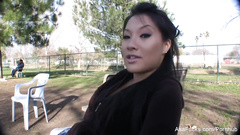 Private interview with Japanese porn star Asa Akira outdoors