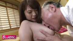 Young Japanese girl got seduced and passionately fucked by a mature man