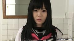 Japanese schoolgirl Sayaka Aishiro got seduced to suck hairy dick in bathroom