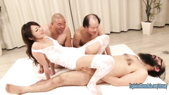 Young Japanese Ayu Sakurai is having hot foursome with three mature jerks