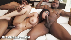 Horny Muslim girl Mia Khalifa seduces two strong black guys for mmf threesome