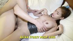 Teen petite Thai girl does deep blowjob to white guy before having hardcore fuck